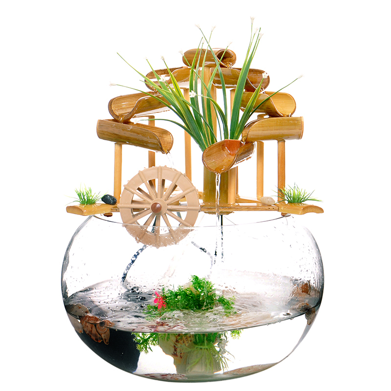Fuente de agua de bamb historia artesan a de vidrio sala for Fuente agua feng shui