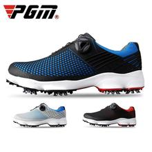 цена на 2019 PGM Outdoor Men Golf Shoes Men Waterproof Breathable Rotating Buckle Sneakers Non-Slip Spikes Golf Shoes Size 39-44