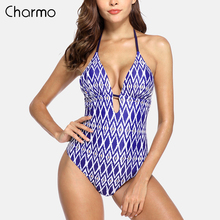Charmo Womens 2019 new Monokini V-Neck One Piece Swimwear Floral Print Bathing Suit Deep Plunge Padded Sexy Swimsuit