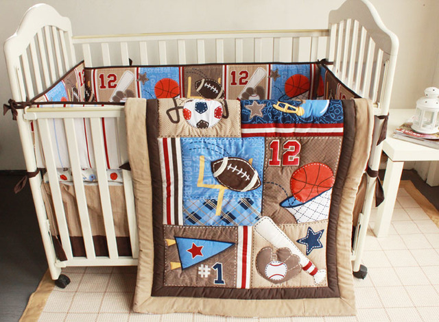 7 Pcs Baby Bedding Set Brown Embroidery Baseball Football Sports Equipment Pattern Quilt Per Bedskirt