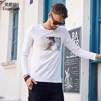 Enjeolon marka kalite o boyun uzun kollu t gömlek adam pamuk 3 renk baskı taban Giyim Üstleri Tee ücretsiz gemi RST7130-1