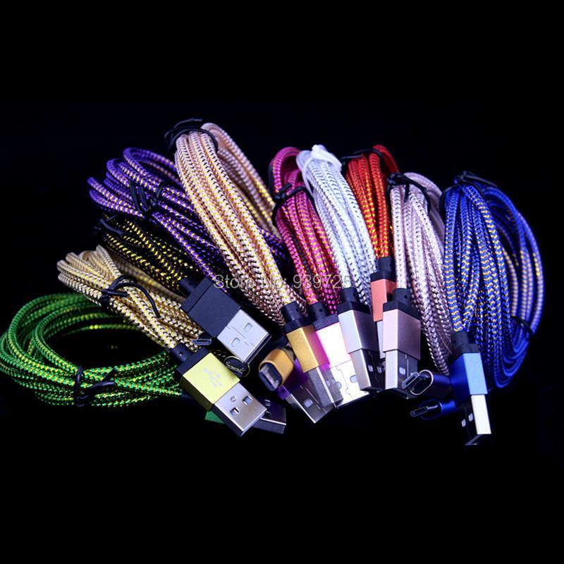 imágenes para 2 m 6FT 100 unids/lote Paquetes de Accesorios de tejido trenzado cable Micro V8 para samsung htc blackberry lg