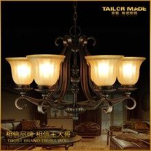EMS БЕСПЛАТНАЯ ДОСТАВКА гостиная подвесной светильник моды деревенский кованого железа освещение американский старинные лампы 2078-6