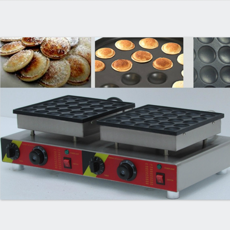 2018 new 50 holes double head commercial biscuit Dutch poffertjes mini pancake waffle maker baker machine 220v/110v directly factory price commercial electric double head egg waffle maker for round waffle and rectangle waffle
