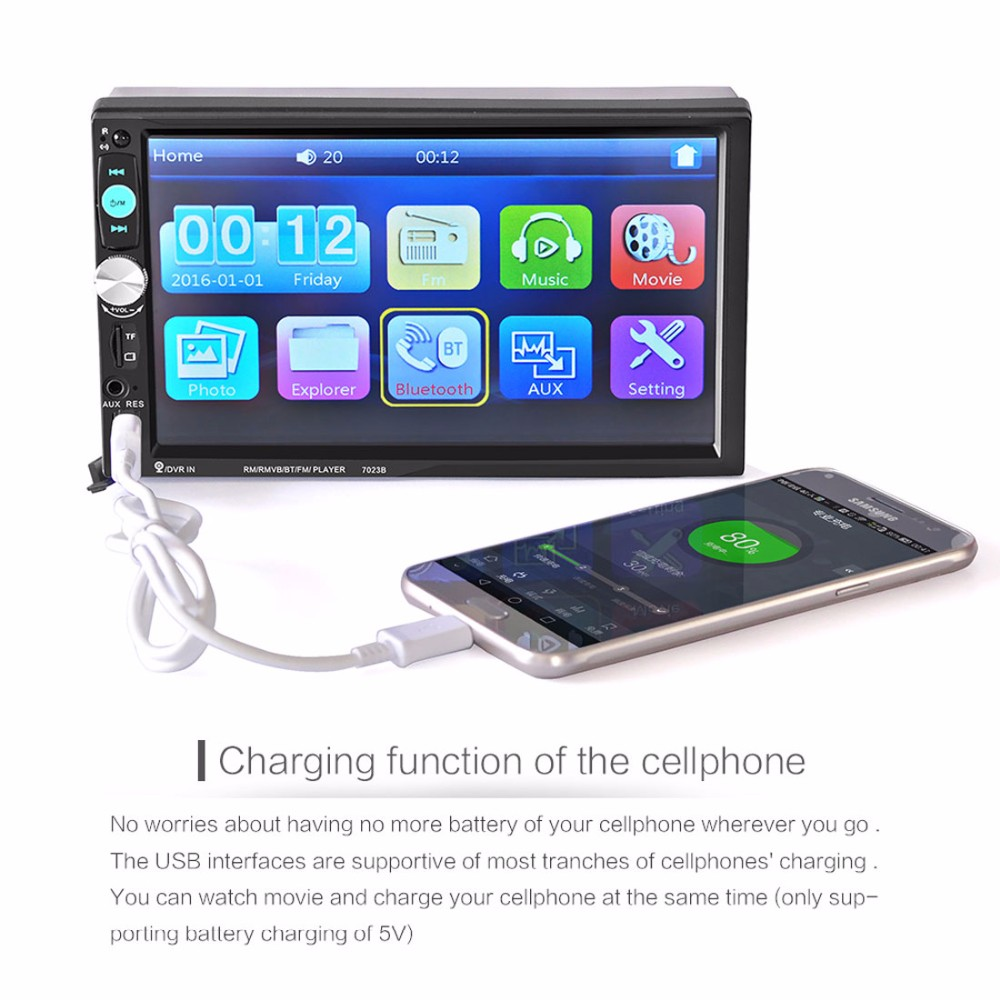 """7\"""" hd touch screen car stereo mp4 mp5 player 2 din bluetooth 3 0 in7\"""" hd touch screen car stereo mp4 mp5 player 2 din bluetooth 3 0 in dash aux fm radio usb sd audio video player remote control in car radios from"""