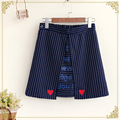 Мори девушка осень новая коллекция женщины юбка японский милая леди сердце полосатый печати линия молодая девушка юбка осенью