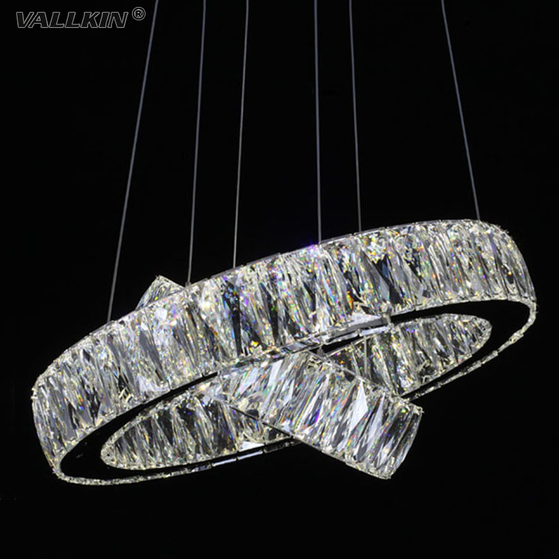 VALLKIN LED Crystal Pendant Lights Lamps Fixtures For Hallway Cafe Stainless Steel Clear K9 Crystal Lighting CE FCC ROHS  vallkin round led crystal pendant light hanging lamp fixtures for bar cafe ac110 240v k9 crystal lamp ce fcc rohs d40cm d60cm