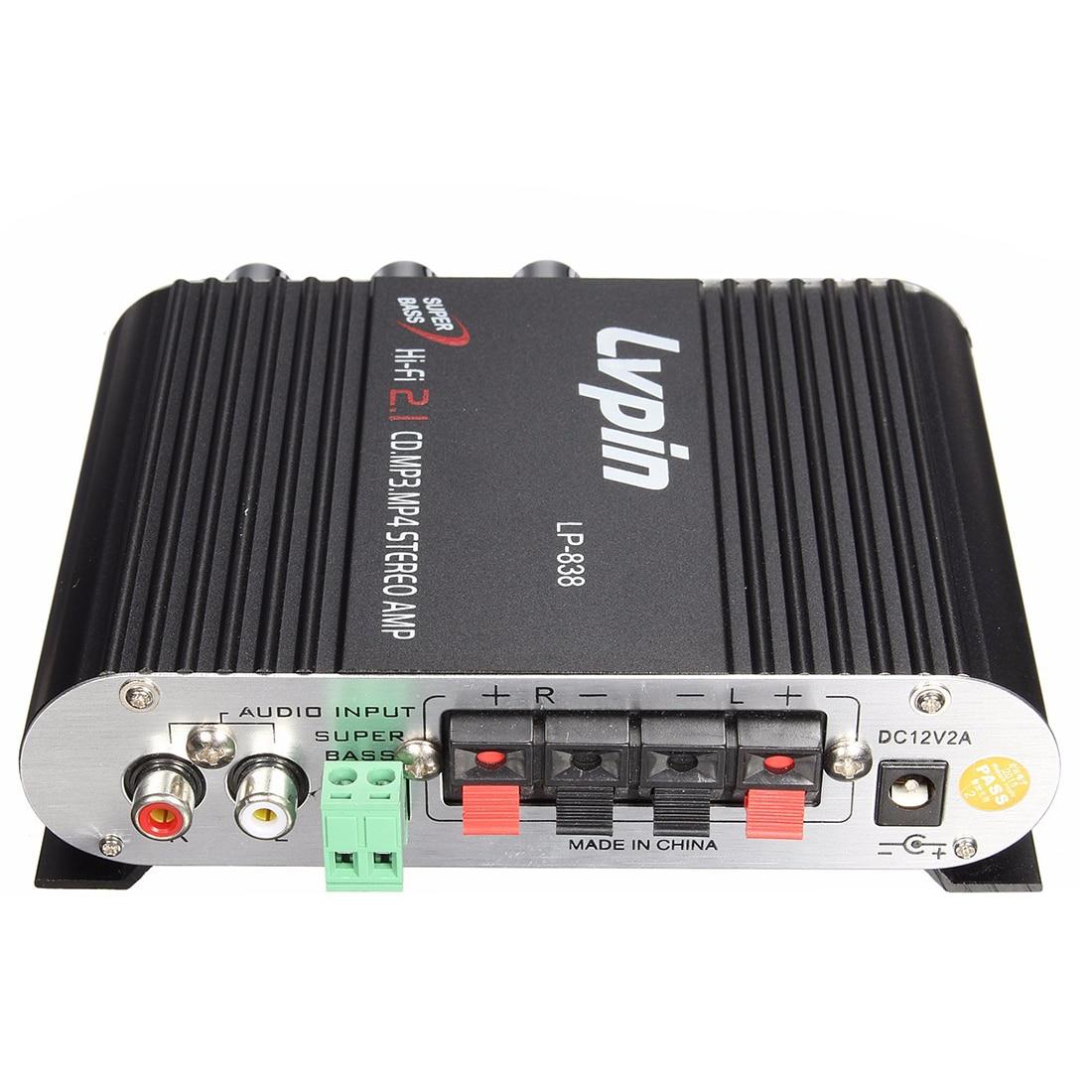 LVPIN 12V 200W Mini Hi-Fi Stereo Amplifier MP3 Car Radio Channels 2 House Super Bass