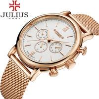 2017 Julius Mens Watches Top Brand Luxury Stainless Steel Mesh Band Gold Watch Man Business Quartz