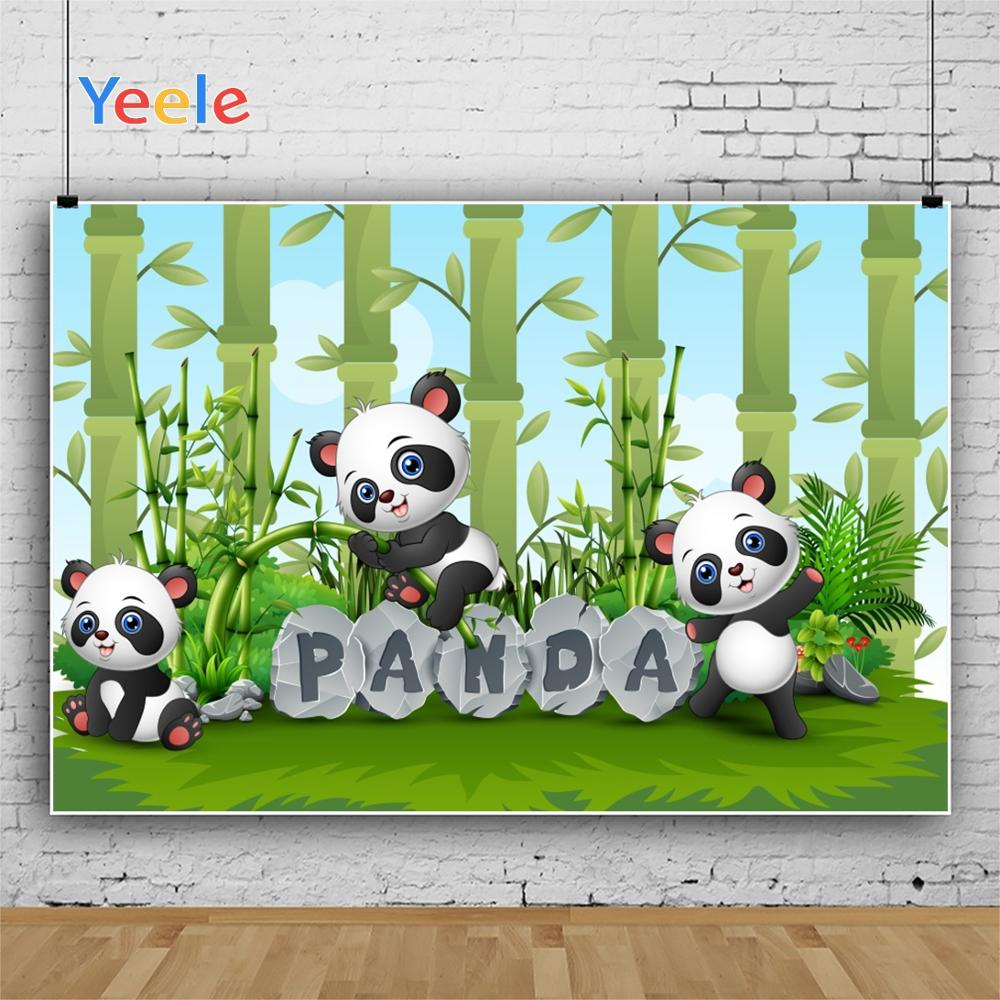 Yeele Sky Cloud Panda Bamboos Grassland Baby Birthday Photography Backgrounds Customized Photographic Backdrops for Photo Studio in Background from Consumer Electronics