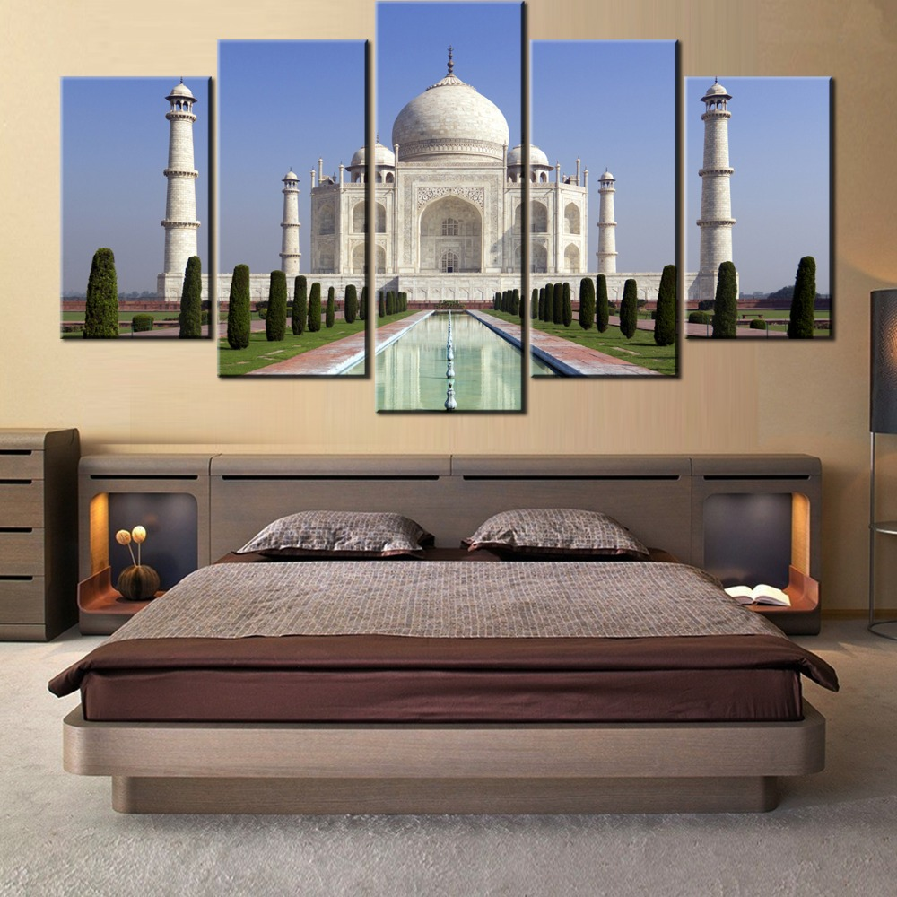5 pieces Wall Art Picture HD-taj-mahal-agra-indian for living room printed on canvas no frame canvas