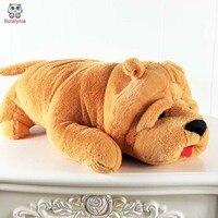 BOLAFYNIA Kahverengi büyük köpek yastık Shar-pei peluş oyuncak bebek çocuk Dolması oyuncak doğum günü çocuklar Noel hediyesi