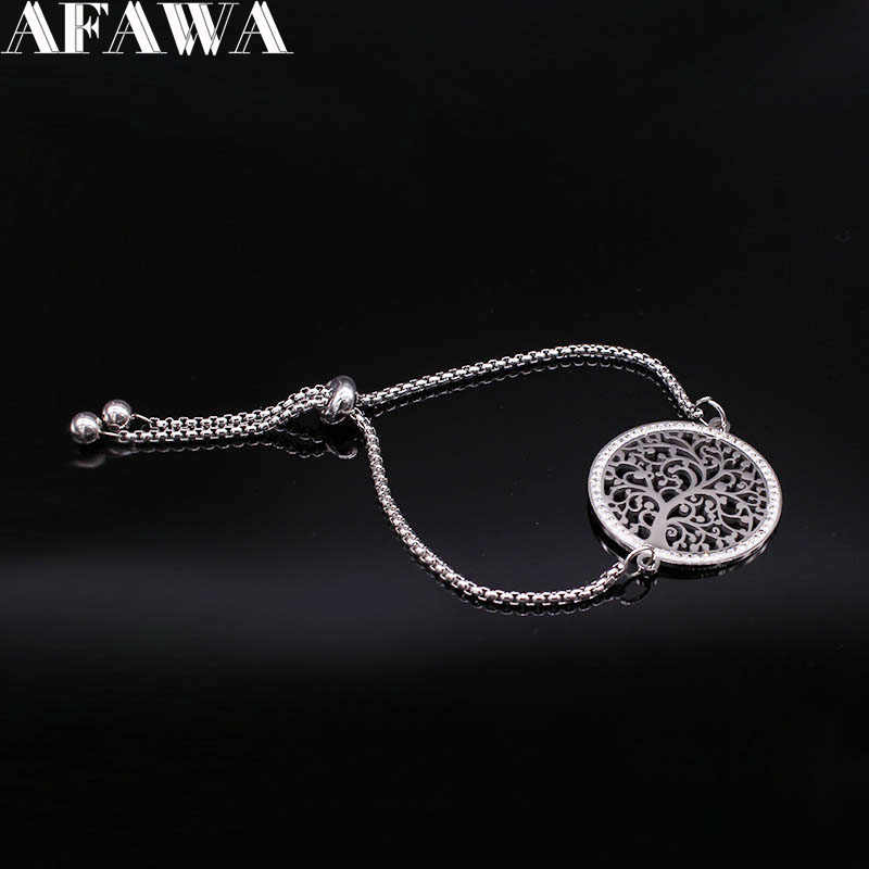 2019 Tree of Life Crystal Stainless Steel Chain Bracelet Women Silver Color Adjustable Bracelet Jewelry bracciale donna B18372