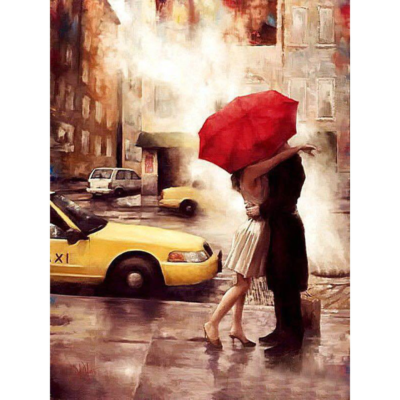 Frameless Kiss Lover Diy Digital Painting By Numbers Wall