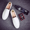 Men's British style round Peas shoes lazy shoes white tide male youth men leather loafers flats shoes