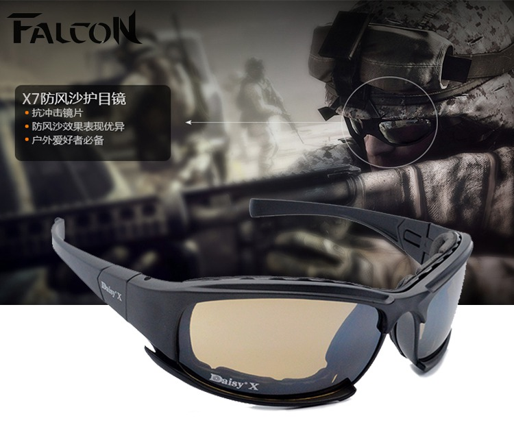 Tactical daisy X7 Glasses Military Goggles Bullet proof Army Sunglasses With 4 Lens Original Box Men