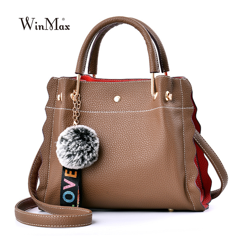 High Quality Women Leather Handbags Vintage Shoulder Bag Casual Tote Bags Female Lady Designer mom's gift Bag with hair ball etonweag women leather designer handbags high quality vintage black tote bag casual famous brands shopping bag shoulder bags