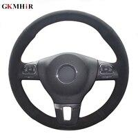 DIY Black Suede Leather Car Steering Wheel Cover for Volkswagen VW Gol Tiguan Passat B7 Passat CC Touran Jetta Mk6