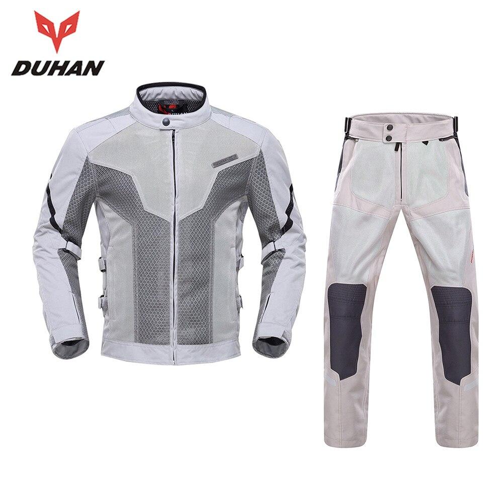 Новый Духан короткие летние мужские куртка мотоцикла костюмы комплекты Защитная куртка + брюки мужчины мотоциклетная куртка Мотокросс