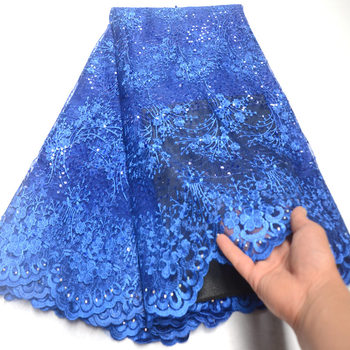Latest French Nigerian Laces Fabrics with stone High Quality African Laces Fabric For Wedding glitter sequins Tulle Lace DG130