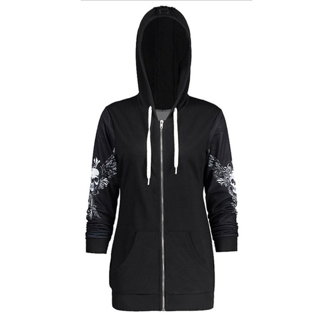 Rosetic Gothic Skull Hooded Hoodies Women Halloween Coat Fashion Zipper Fitness Streetwear Cool Girls Black Hoodie Sweatshirt 1