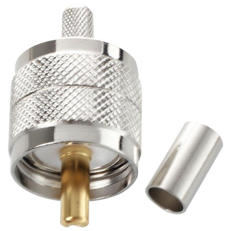 10 pces conector uhf macho pl259 plug friso rg58 rg142 lmr195 cabo em linha reta Conectores     - title=
