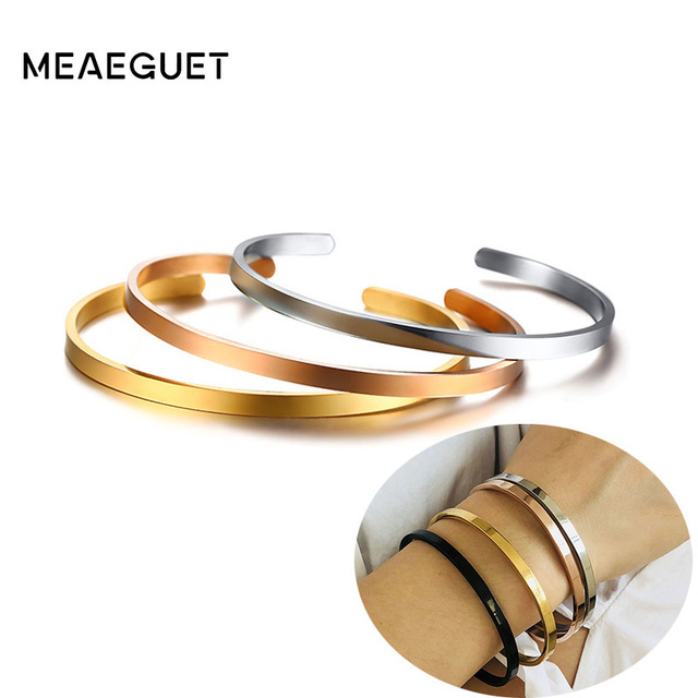 selezione premium 9e5f3 6712b US $3.32 40% OFF|4mm Thin Charm Cuff Bangles Stainless Steel Bracciali  Elegant Gold Black Silver Rose Gold Women Bracelets Pulseira Feminina-in  Cuff ...