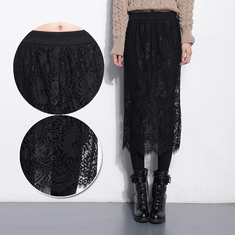 Autumn and winter plus velvet thickening high waist ultra long patchwork lace font b legging b