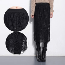 Autumn and winter plus velvet thickening high waist ultra long patchwork lace legging plus size skirt pants