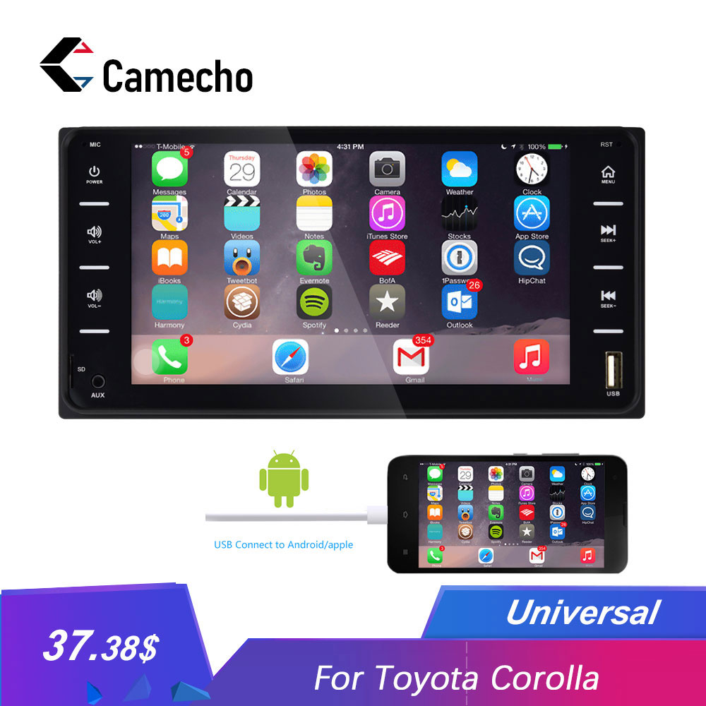 Camecho 2Din Car Radio Universal Car Multimedia player 7 Autoradio Mirror link Bluetooth Audio Radio Stereo