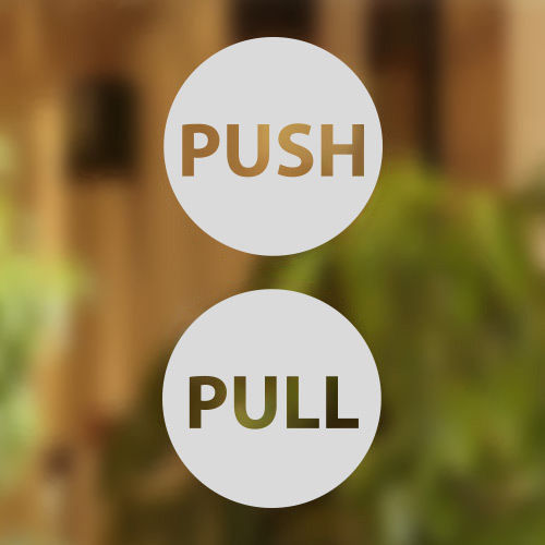 White pull push door 12cm stickers shop window salon cafe restaurant office vinyl sign q045 free shipping in wall stickers from home garden on