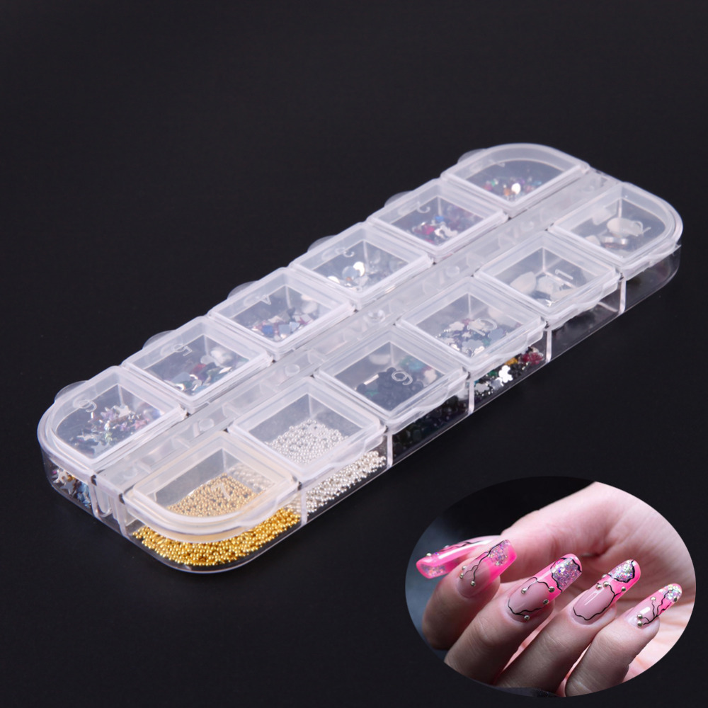 12 Grids/packung Nail art Ornamente Pailletten Decor Diamant Strass ...