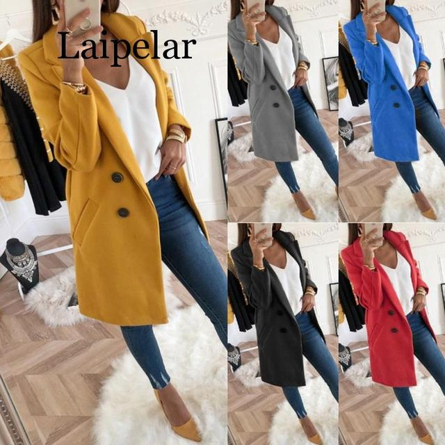 2020 Womens Fashion Spring and Autumn Coat Jacket Everyday Elegant Mid Length Thin Woolen Coat