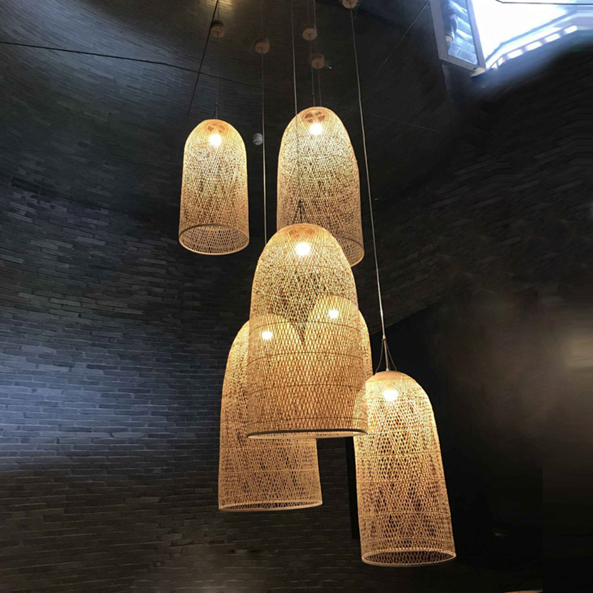 Modern Dining Room Bamboo Art Pendant Lights LED Wood Wicker Pendant Lamp Suspension Home Indoor Deco Kitchen Fixtures Luminaire