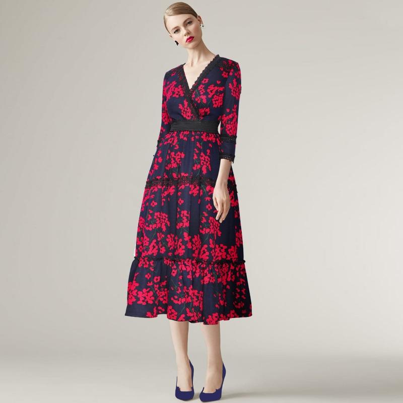 274f5a2420c7 V Dell annata Linea Del Fiore Donne Stampa Vestito Una Elegante Scollo  Borgogna A Abiti Delle Di 4BfnzA