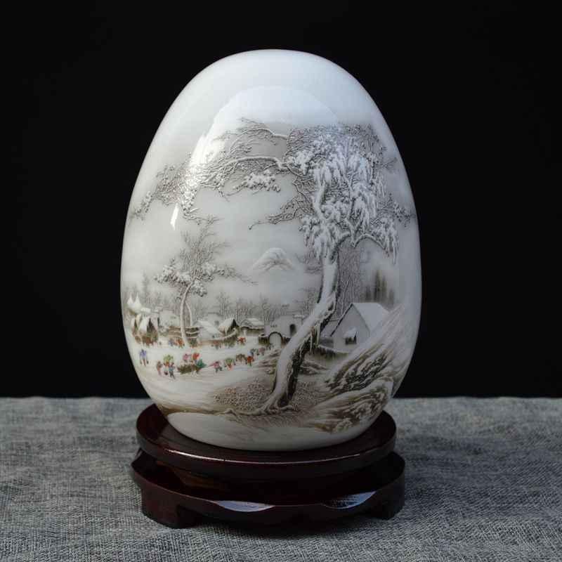 Jingdezhen uovo in ceramica casa vaso di soggiorno nuovo Cinese moderno e minimalista decorazioni ornamenti di porcellana