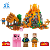 Qunlong 234pcs Mine World Minecrafted Figures Building Blocks Bricks Set Educational Toys For Children Compatible Legoed