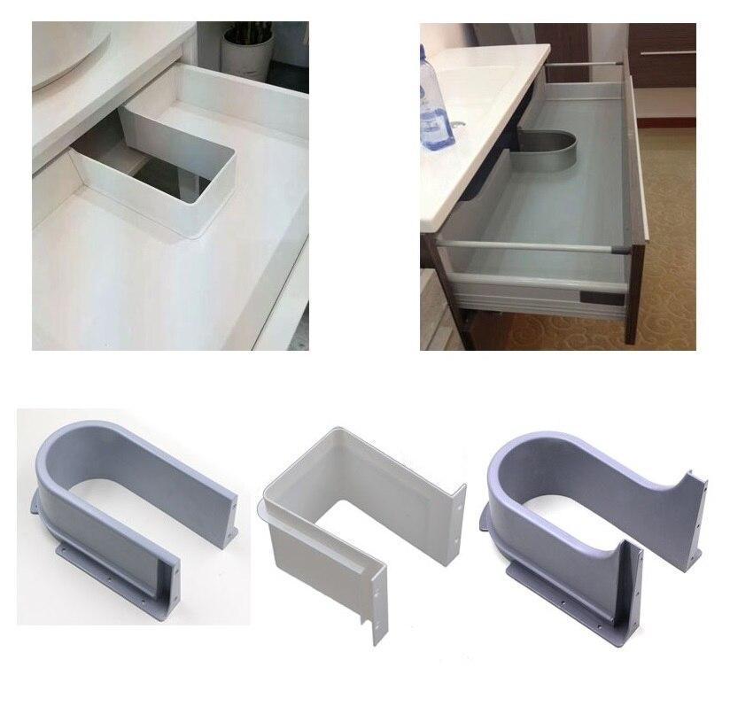 Plastic U Shape Sink Drawer Kitchen Bath Furniture Cabinet Recessed U Under Sink Drainage Grommet