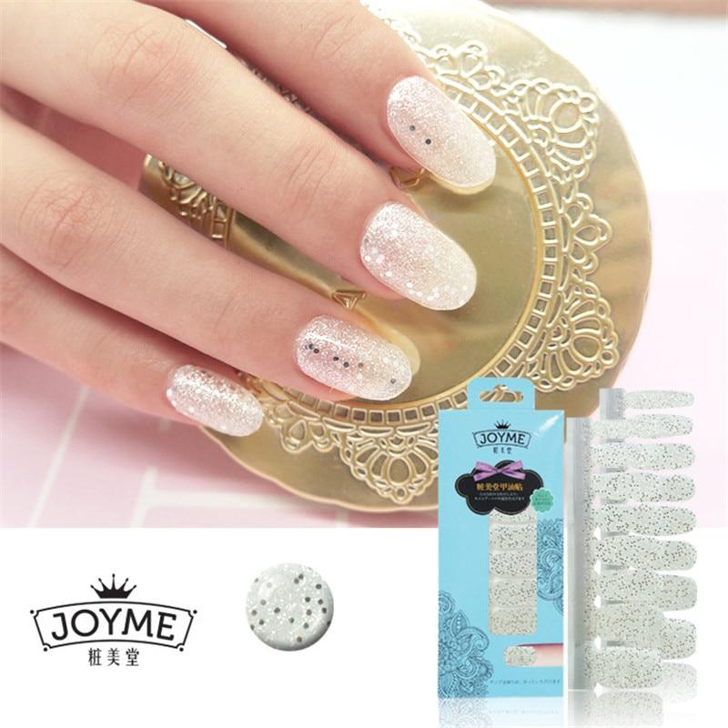 Bling Bling Nail Polish Strips 3d Glitter Silver Sticker 16pcs Nail