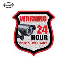 HotMeiNi – autocollant de style de voiture, étiquette d'avertissement de SURVEILLANCE vidéo 24 h, alarme de sécurité, étanche 13cm * .11cm