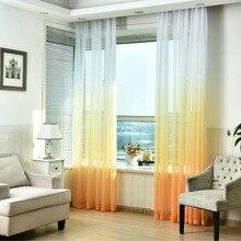 Прозрачная Тюль окна Шторы для Гостиная Кухня Современный узор вуаль с яркими Цвет для декора окна минималистский стиль