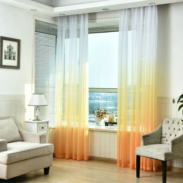 Sheer Tulle Window Curtains For Living Room Kitchen Modern Pattern Voil  With Bright Color For Window