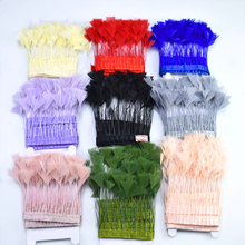 Top quality 2Meter colorful Goose Feathers ribbon Party decoration DIY Pheasant Feather trim Fringe crafts clothes Home plumes 15 20cm high quality whitel goose feather for diy colorful feather decoration wedding feathers for crafts accessories plumes