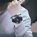 2016 Classic Fashion Quartz Watch Women men Simple PU Leather Lovers Wristwatch Gift To Girls Boys Female Male Student OP001