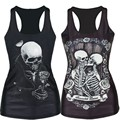 Harajuku Women Tank Top Skull Skeleton People Print Vest Camis Sexy Slim Cool Girl Camisole High-quality 3D Vests Tops