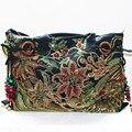 Tradicional étnico flor bordada lienzo bolso de las señoras de la honda de la tela de algodón bolsa de hombro corss cuerpo de gran tamaño
