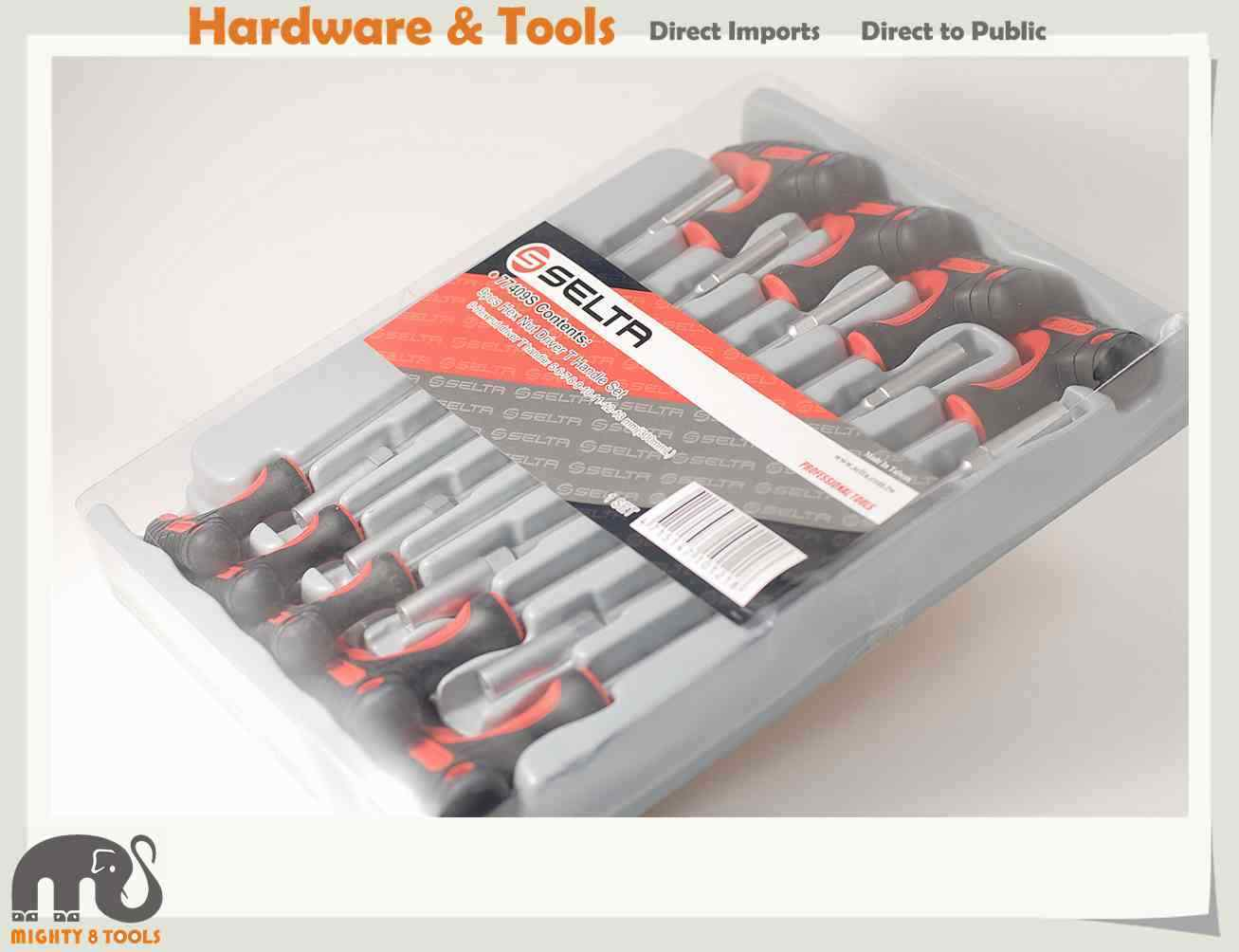 Selta Taiwan Cr-V 9pc Hex Nut Driver T Handle Set w Tray:5-6-7-8-9-10-11-12-13mm