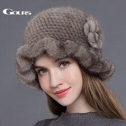 Женские вязаные меховые шапки Gours, теплые плотные шапки из натурального меха норки, с цветочным узором, для зимы