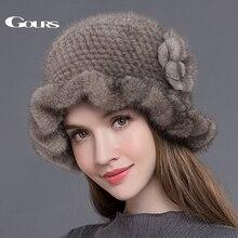 Cappelli di pelliccia Gours per donna fedora di pelliccia di visone naturale lavorata a maglia spessa calda In berretti invernali berretti di moda con floreale nuovo arrivo