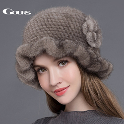 Gours Bont Hoeden voor Vrouwen Gebreide Natuurlijke Nertsen Bont Fedora Dikke Warm In Winter Mutsen Mode Caps met Bloemen Nieuwe collectie